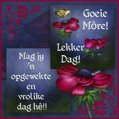 Lekker Dag, Goeie More, Afrikaans Quotes, Good Morning Wishes, Happy Birthday Cards, Morning Images, Amigurumi Doll, Deep Thoughts, Cute Animals