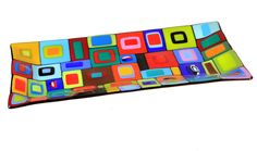 """Fused glass in the Carnival design by artist Helen Rudy. layers of colors create this stunning platter. It is perfect for functional use as well as decorative.Carnival Platter 7.5"""" x 15"""""""