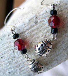 Ladybug Charm Earrings at acorn accessories