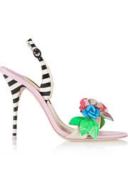 Sophia WebsterLilico floral-appliquéd striped leather sandals