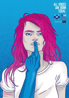 After creating an app to track manterruption, BETC São Paulo asked female artists to design posters for the cause. Pencil Sketch Drawing, Drawing S, Art Drawings, People Illustration, Illustrations, Lip Wallpaper, Women Poster, Communication Art, Woman Drawing