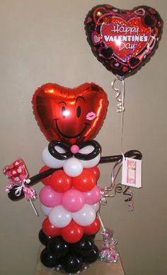 Little Man Heart Face Balloon Character
