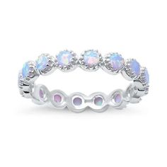 Sterling Silver Round Created White Opal Eternity Ring