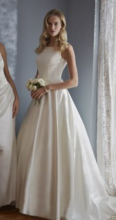 #Simple A-line Straps Pearl Detailing Sweep/Brush Train Satin #WeddingDresses