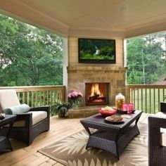 I love this outdoor patio with a fireplace! #patio #deck #fireplace