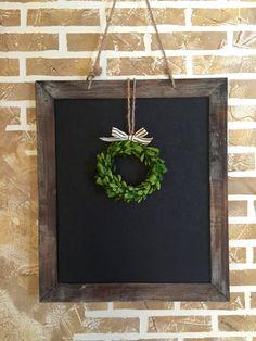 Large Rustic Framed Chalkboard | Boxwood Wreath | Rustic Wedding Decor | Christmas Decor, Thanksgiving, Chalkboard Sign, Blackboard
