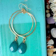 INTO THE BLUE HOOPS #turquoise #jade #hoop #earrings #hawaii #jewelry #jewelrylove #handmade #aloha #art #14goldfill #gold  #gypsy #blue  #fashion #fashionable #fashiongirl #style #beachy #beachjewelry #poolside #cute #coastal #fashionweek #kaanapali #resortwear #kapalua #paia #wanderlust #wailea link in bio⤴️