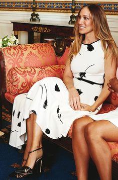 SHOP Oscar de la Renta Belted Stretch-Silk Asymmetrical Dress Seen On Sarah Jessica Parker