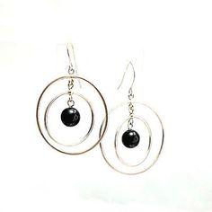 Earrings-pierced-hoop-within-hoop-black-bead-dangle-ear-wires-silvertone