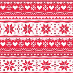 Buy Nordic Seamless Knitted Christmas Red Pattern by RedKoala on GraphicRiver. Winter vector background – Scandinavian pattern with hearts and snowflakes FEATURES: Vector Shapes All groups ha. Christmas Knitting, Christmas Cross, Christmas Sweaters, Nordic Christmas, Red Heart Patterns, Cross Stitch Patterns, Knitting Patterns, Scandinavian Pattern, Red And White Quilts