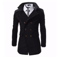 hombres de moda de invierno de las da vuelta abajo lana mezclas caliente hombres chaquetón marinero doble de pecho abrigo de invierno para hombre