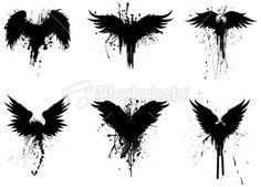grunge wings Royalty Free Stock Vector Art Illustration