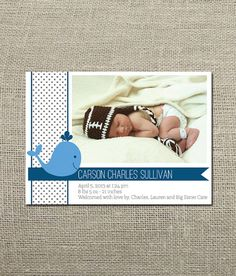 Nautical Whale Birth Announcement for Baby Boy by KellerCreative
