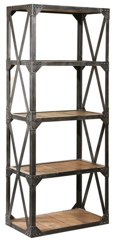 Furniture Classics Ltd's Bleeker Bookcase is constructed from reclaimed fir wood and upcycled steel... I MUST OWN!