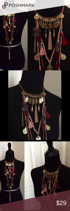 """Armenian/Festival Style Multi Strand Necklace Multi strand necklace features tassels, token coins, and feathers. Lobster claw clasp. Approximately 16"""" shorted strand, 42"""" longest not including tassel. Costume jewelry. Brand new boutique retail. No trades, no off App transactions or negotiations. - THIS IS ONE NECKLACE -      PRICE IS FIRM UNLESS BUNDLED❗️                     5% off bundles  Jewelry Necklaces"""
