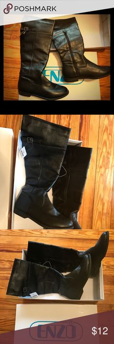 NWT Enzo black faux leather calf boots Small 1 inch heel, new in box with tags Enzo Shoes Heeled Boots