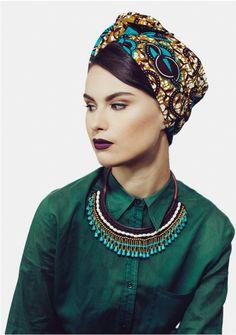 African print headwrap. Turban outfit inspiration. Green shirt / Ethnic Jewels - turban fashion