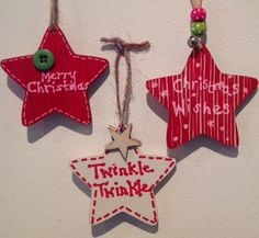 Set of 3 Personalised Shabby Chic Christmas Tree Decorations £4.50 via @Shopseen