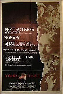 Sophie's Choice is a 1982 American romantic drama film that tells the story of a Polish immigrant, Sophie, and her tempestuous lover who share a boarding house with a young writer in Brooklyn. The film stars Meryl Streep, Kevin Kline, and Peter MacNicol. Alan J. Pakula directed the movie and wrote the script from a novel by William Styron, also called Sophie's Choice.    This is widely regarded as one of Meryl Streep's finest performances[according to whom?], and it won her the Academy Award…