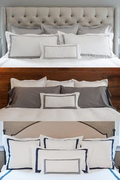The three B's: Beautiful, Banded Bedding. By Boll & Branch.