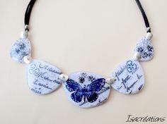collier noir et blanc fleurs et papillons fait main