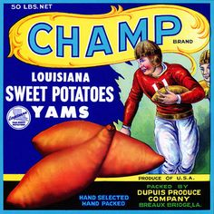 This crate label was used on Champ Brand Louisiana Sweet Potatoes, c. 1930s: 'Champ Brand Louisisna Sweet Potatoes. Yams. Produce of U.S.A. Hand Selected. Hand Packed. Distributed by Dupuis Produce Co