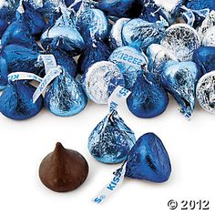 Royal Blue, Light Blue & Silver Hershey's Kisses, 65 piece bag for $5.25
