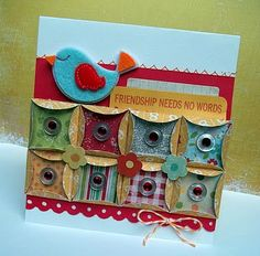 Punched circles folded into squares, bird, bella blvd, simple stories card
