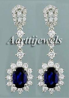 6.02ct Diamond Blue Sapphire 14k White Gold Sparkling Wedding Precious Earrings  #Handmade #Earrings