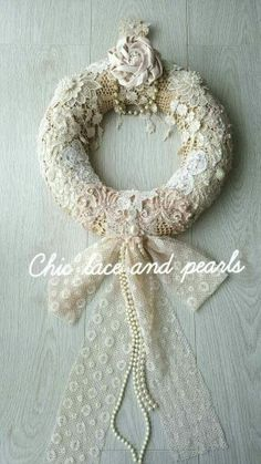 shabby chic rag wreath wreath fabric wreath by. Black Bedroom Furniture Sets. Home Design Ideas