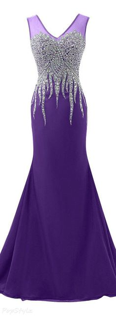 Sunvary Luxurious Rhinestone Tulle Mermaid Formal Gown #purple_fitness_dress