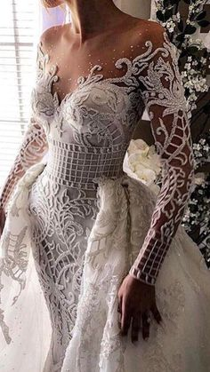 Long Sleeved Wedding Dresses: 20 Perfect Gowns for Brides! - weddingtopia Long Sleeved Wedding Dresses: 20 Perfect Gowns for Brides! Long Sleeve Wedding, Wedding Dress Sleeves, Dream Wedding Dresses, Bridal Dresses, Wedding Gowns, Lace Wedding, Dresses Dresses, Crochet Wedding, Wedding Art