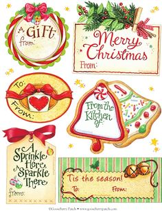 Free Christmas tags from Gooseberry Patch Free Christmas Gifts, Christmas Graphics, Free Christmas Printables, Noel Christmas, Christmas Gift Tags, All Things Christmas, Winter Christmas, Holiday Crafts, Christmas Baking