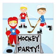 If he loves hockey and is having a hockey birthday party, he'll love our Hockey Birthday Party invitations! Features boys playing hockey including the goalie, the hockey net, puck, ice, and areas you can easily add your child's birthday party information! #customized #birthday #invitations #kids #birthdays #birthdays #hockey #hockey #parties #hockey #party #sports #hockey #birthday #kids #custom #customized #birthday #custom #invites #peacockcards #hockey #get #togethers #childrens