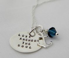Love Anchors the Soul Hand Stamped Necklace by rusticcharmjewelry, $27.50