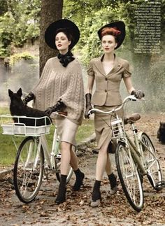 Love the outfits and bicycles lol