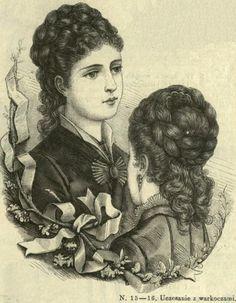Uczesanie z warkoczami, 1876   Hairstyle with braids, 1876