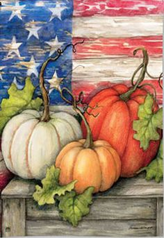 Patriotic Pumpkins Garden Flag from Just for Fun Flags. Patriotic Pumpkins garden flag by artist Susan Winget for Breeze Art . The american pride design is visible from both sides of the flag. Garden size mini flag is Wide x Long. Pumpkin Garden, Pumpkin Art, Pumpkin Canvas, Autumn Painting, Autumn Art, Fall Paintings, Canvas Paintings, Fall Canvas Painting, Pumpkin Painting