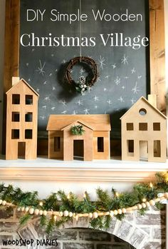 How to make your own DIY wooden Christmas village perfect for Scandinavian Christmas decor. Easy and free project tutorial you can make from scrap wood Christmas Fireplace, Rustic Christmas, Christmas Crafts, Christmas Ornaments, Christmas Stencils, Christmas Tree, Fireplace Mantle, Victorian Christmas, Ideas