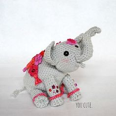 "Meet ""Little Jyoti!"" She is a ""painted"" Indian Elephant celebrating the arrival of Spring and Holi Festival in India. FREE crochet pattern!"