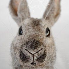 Needle Felted OOAK Unique Grey Rabbit Handmade by Olive Sawl