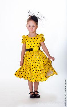 Детское летнее платье в горошек. Handmade.