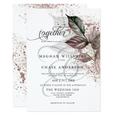 Shop Modern Watercolor Glitter Foliage BarefootBride™ Invitation created by TheBarefootBride. Personalize it with photos & text or purchase as is! Floral Wedding Stationery, Botanical Wedding Invitations, Modern Wedding Invitations, Elegant Wedding Invitations, Wedding Invitation Templates, Glitter Invitations, Floral Save The Dates, Invitation Card Design, Rose Wedding