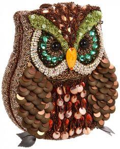 Mary Frances Unusual Owl Purse -- all hand-made Elaborate, no? Mary Frances Purses, Mary Frances Handbags, Beaded Purses, Beaded Bags, Owl Purse, Owl Quilts, Owl Bags, Felt Owls, Unique Purses