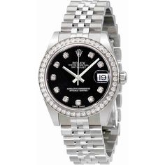 Rolex Datejust Lady 31 Black Dial Stainless Steel Jubilee Bracelet... (€11.045) ❤ liked on Polyvore featuring jewelry, watches, stainless steel jewelry, stainless steel watches, rolex, analog watches and crown jewelry