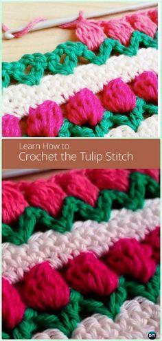 How to Crochet Tulip Stitch Free Pattern [Video] - Crochet Flower Stitch Free Patterns