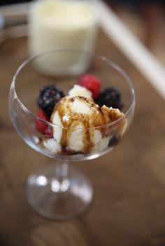 Olive Oil Sorbetto with Berries and Balsamic