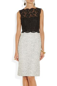 so classy yet so fabulous {Valentino|Belted lace and tweed dress|NET-A-PORTER.COM}