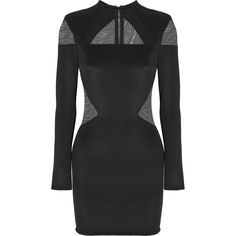Balmain Tulle-paneled stretch-jersey mini dress ($1,490) ❤ liked on Polyvore featuring dresses, balmain, balmain dresses, black, sheer cocktail dress, stretch jersey, sheer dress, zipper dress and shoulder pad dress