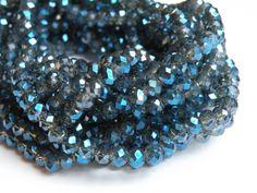 Denim Steel Blue faceted glass rondelle beads 6x4mm full strand PEGLA-59-2 - pinned by pin4etsy.com